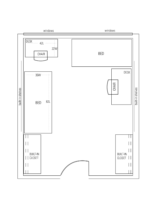 Biever Hall Double sample floor layout