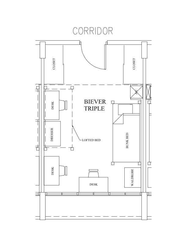 Biever Hall Triple sample floor layout